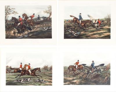 Late 19th Century Set Four Equestrian Engravings Forest Hunting Scenes