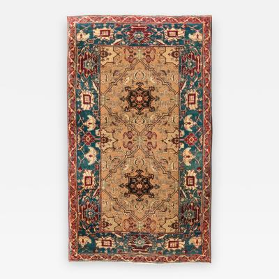 Late 19th Century Small Green India Wool Rug Classical Agra Design