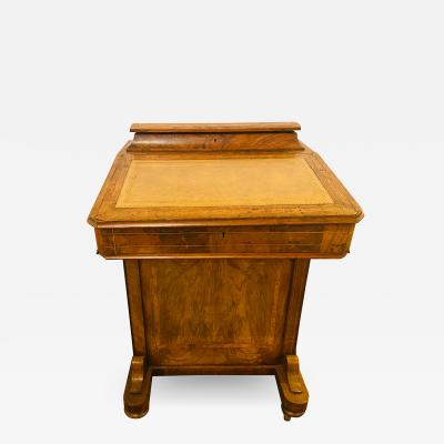 Late 19th Century Top Lid with Fitted Interior Line Burl Inlaid Davenport Desk