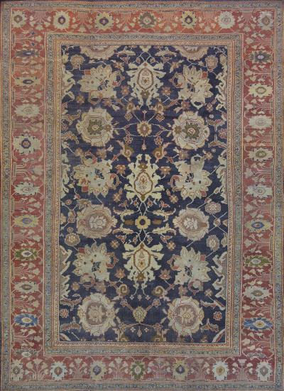 Late 19th Century Wool Sultanabad Rug Handwoven in West Persia