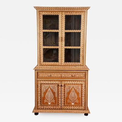 Late 20th C Indian Bone Inlaid Display Cabinet