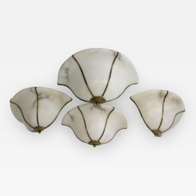 Late 20th Century Alabaster Half Bowl Sconces With Brass Ribs Four available