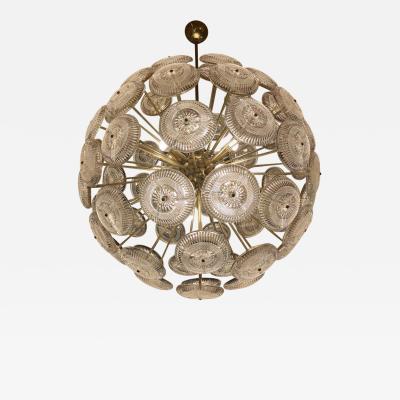 Late 20th Century Brass Transparent Rusticated Glass Sputnik Chandelier