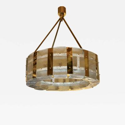 Late 20th Century Brass and Transparent Textured Murano Glass Round Chandelier