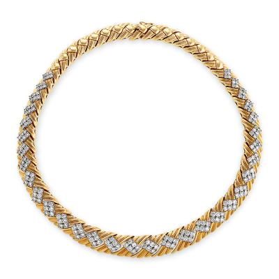 Late 20th Century Gold and Diamond Necklace