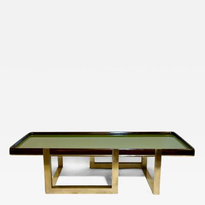 Late 20th Century Green Glass w Wooden Frame Brass Basement Coffee Table