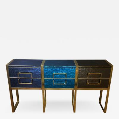 Late 20th Century Iridescent Blue Grey Murano Glass and Brass Console