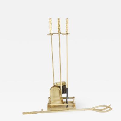 Late 20th Century Italian Solid Gilt Brass Fireplace Tool Set