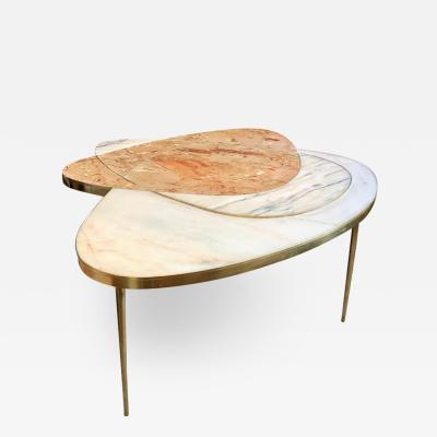Late 20th Century Italian Space Age Marble and Brass Coffee Table