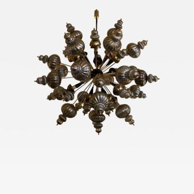 Late 20th Century Large Brass Sputnik Chandelier w Silver Murano Glass Elements