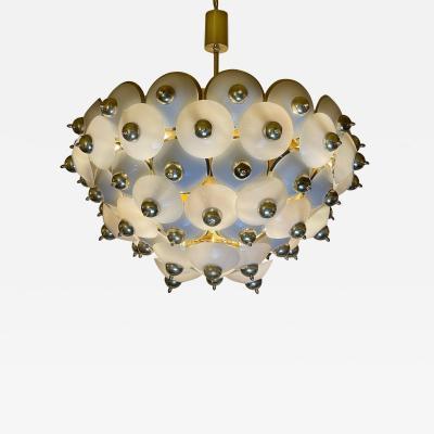 Late 20th Century Large Italian Studded Brass White Opaline Glass Chandelier
