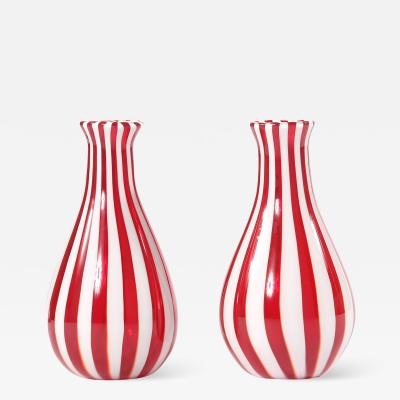 Late 20th Century Pair Murano Glass Vases Pieces