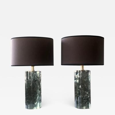 Late 20th Century Pair of Green Italian Fractal Resin and Brass Table Lamps
