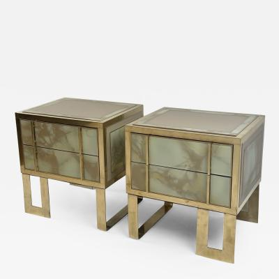 Late 20th Century Pair of Green Murano Glass Brass Wood Bedside Tables