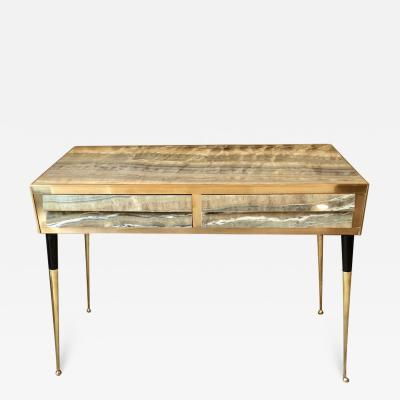 Late 20th Century Pair of Italian Green Faux Onyx Consoles with Brass Details