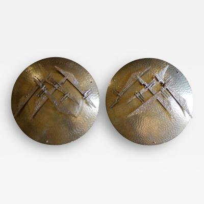 Late 20th Century Pair of Italian Hand Hammered Brass and Bronze Shield Sconces