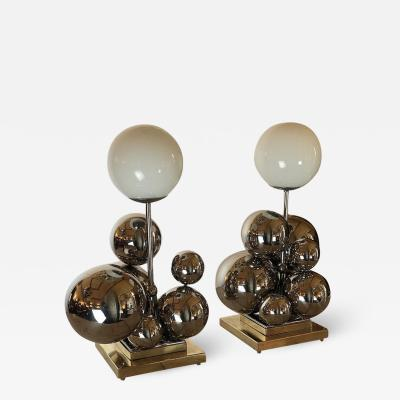 Late 20th Century Pair of Italian Space Age Brass Nickel Bubbles Table Lamps
