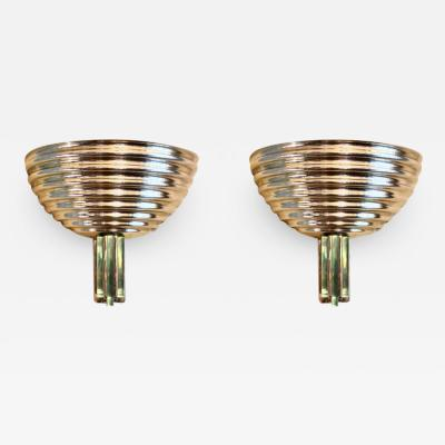 Late 20th Century Pair of Ribbed Gold Metal Emerald Green Glass Sconces