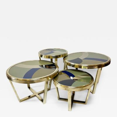 Late 20th Century Set of Four Round Brass Coffee Tables w Opaline Glass Tops
