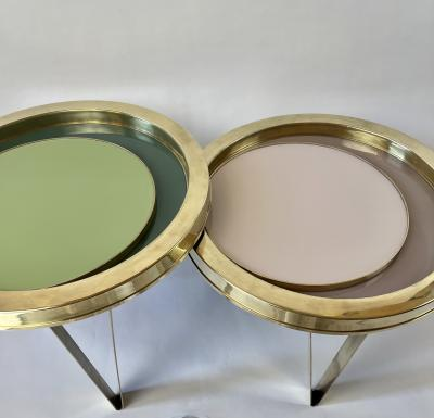 Late 20th Century Set of Two Round Brass Coffee Tables w Opaline Glass Tops