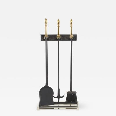 Late 20th Century Three Tone Black Brass and Silver Fireplace Tool Set