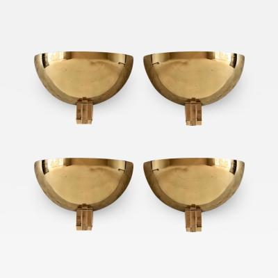 Late 20th Century Two Pairs of Space Age Gold Metal Transparent Lucite Sconces