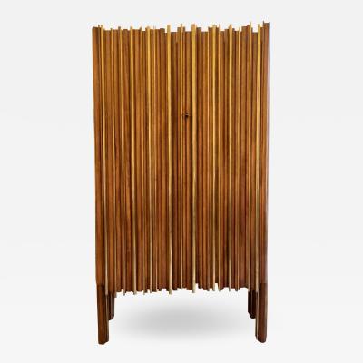 Late 20th Century Walnut Wood Brass Breadsticks Italian Dry Bar with Two Doors