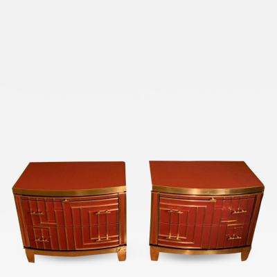 Late 20th Pair of Italian Red Coral Opaline Glass Wood and Brass Nightstands