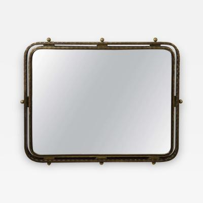 Late Deco Streamline Moderne French Bronze Mirror