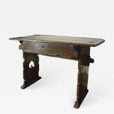 Late Gothic Swiss Early 17th Century Rustic Walnut Table