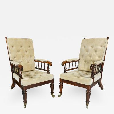 Late Regency Rosewood Armchairs a Pair