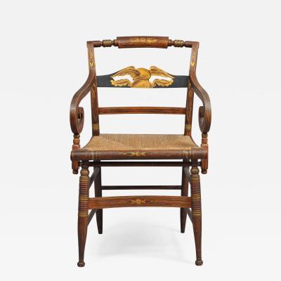 Late Sheraton Fancy Grain Painted Armchair