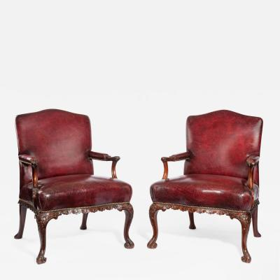 Late Victorian Mahogany open arm chairs