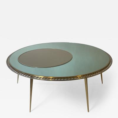 Late20th Century Italian Round Green Mirror Coffee Table w Brass Steel Details