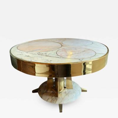 Late20th Century Italian Space Age Round Marble Table w Brass Pedestal Inlays