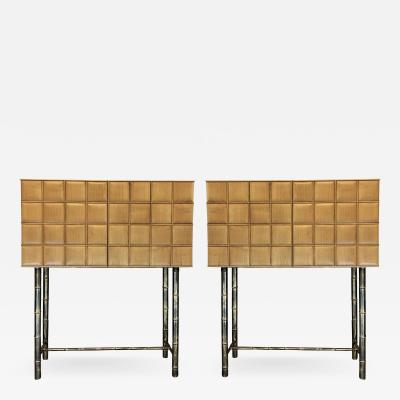 Late20th Century Pair of Cherrywood Cabinets w Marble Top Bronzed Bamboo Legs
