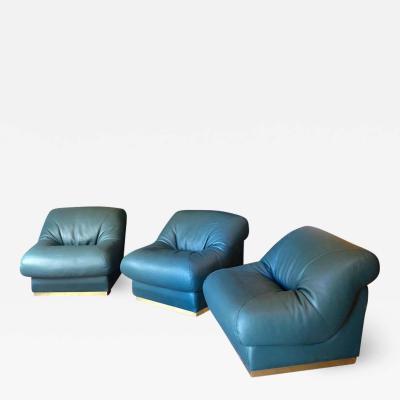 Late20th Century Set of Three Green Italian Leather Armchairs w Brass Basement