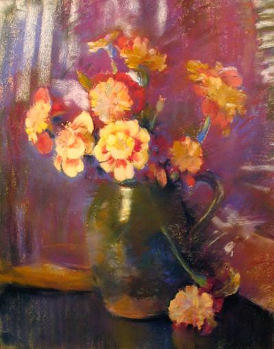 Laura Coombs Hills Still Life with Flowers in an Earthenware Jug