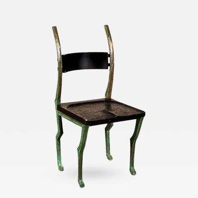 Laura Johnson Drake Rare Deer Chair by Laura Johnson Drake in Patinated Bronze and Wood