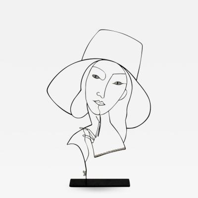 Laure Simoneau Wire Sculpture La Dame au Chapeau