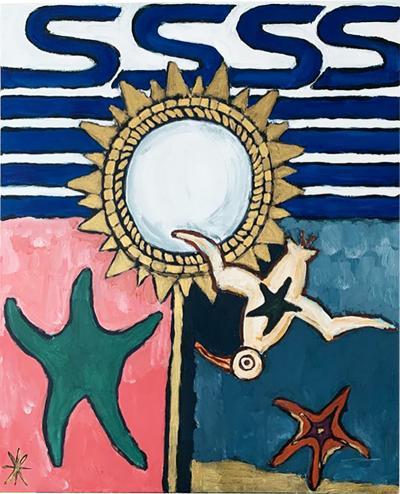 Laurence Calabuig ENDLESS REFLECTIONS JONATHAN SEAGULL AND LINE VAUTRIN MIRROR Acrylic painting