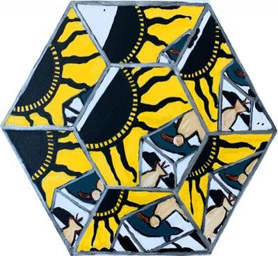 Laurence Calabuig ENDLESS REFLECTIONS POLYNESIAN ART DECO YELLOW Hexagonal painting