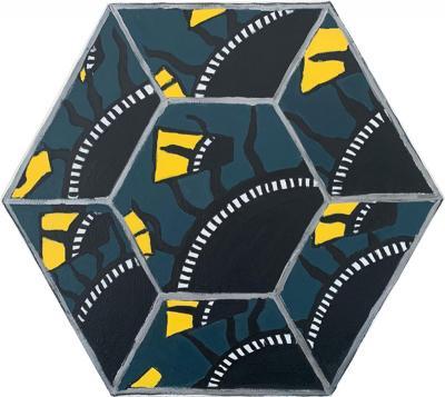 Laurence Calabuig ENDLESS REFLECTIONS POLYNESIAN SUN BROKEN FRAGMENTS Hexagonal painting