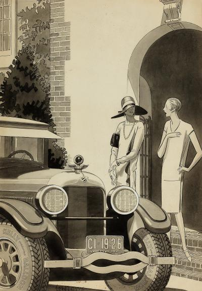 Laurence Fellows Art Deco Women Flappers in from of Packard Car