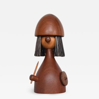 Laurids L nborg Kay Bojesen Laurids L nborg Teakwood Viking TOY Doll Lint Brush DENMARK 1960s