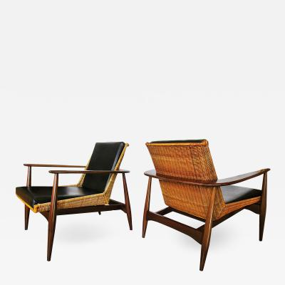 Lawrence Peabody Original Pair Rare Rattan and Teak Armchairs Lawrence Peabody model 1806