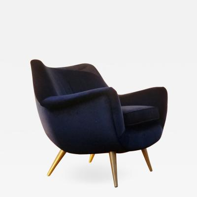 Lawrence Peabody Sculptural Lounge Chair by Lawrence Peabody for Selig with Brass Legs