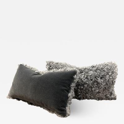 Lawton Mull Pillows of Gotland Lambskin and Mohair Velvet
