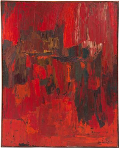 Lea Wellner Striking Abstract Oil on Canvas in Reds by Lea Wellner