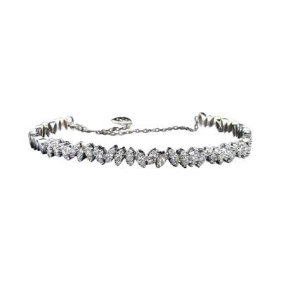 Leaf Motif White Gold 0 82 Carat Diamond Fashion Bangle Bracelet